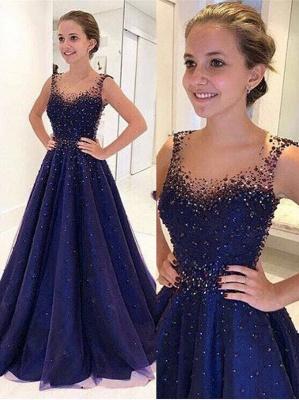 Elegant Beading A-Line Prom Dresses | Scoop Sleeveless Puffy Evening Dresses BA9350_1