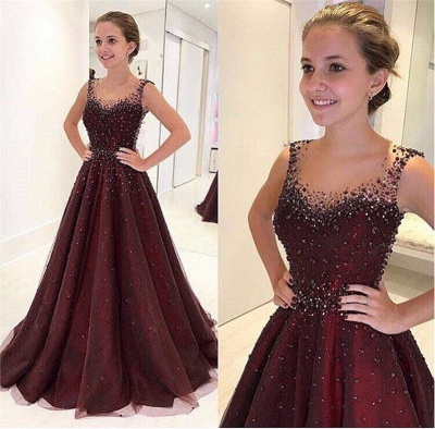 Elegant Beading A-Line Prom Dresses | Scoop Sleeveless Puffy Evening Dresses BA9350_3