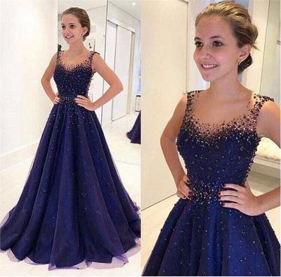 Elegant Beading A-Line Prom Dresses | Scoop Sleeveless Puffy Evening Dresses BA9350_4