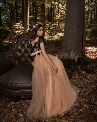 Gothic Ball Gown Flower Girl Dresses | Scoop Cap Sleeves Lace Tulle Pageant Dresses_3