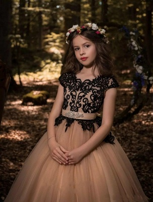 Gothic Ball Gown Flower Girl Dresses | Scoop Cap Sleeves Lace Tulle Pageant Dresses_2