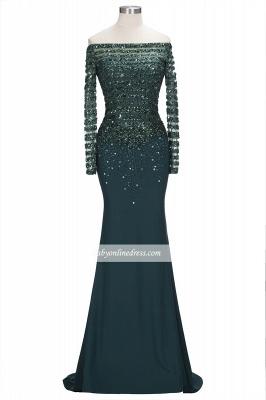 Sequins Long-Sleeves Dark-Green off-the-Shoulder Mermaid Evening Dress_6