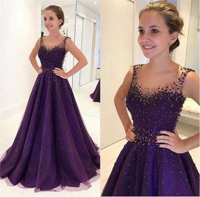 Elegant Beading A-Line Prom Dresses | Scoop Sleeveless Puffy Evening Dresses BA9350_2