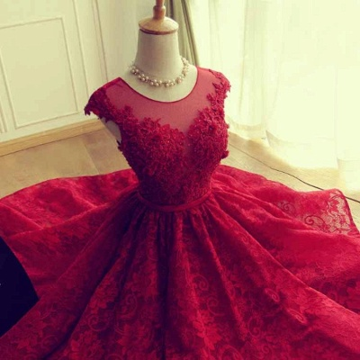 Red Short Lace Applqiues Homecoming Dress 2021 Cap Sleeves A-Line Cocktail Dresses_3