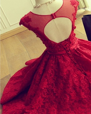 Red Short Lace Applqiues Homecoming Dress 2021 Cap Sleeves A-Line Cocktail Dresses_6