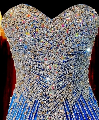 Royal Blue Crystals Mermaid Luxury Prom Dresses Sweetheart Neck Tulle Pageant Dresses_3