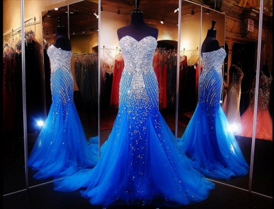 Royal Blue Crystals Mermaid Luxury Prom Dresses Sweetheart Neck Tulle Pageant Dresses_2