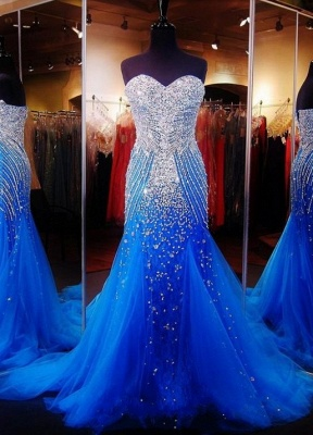 Royal Blue Crystals Mermaid Luxury Prom Dresses Sweetheart Neck Tulle Pageant Dresses_1
