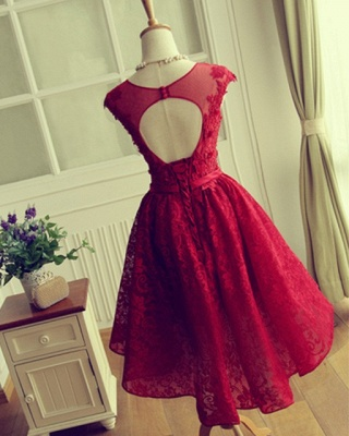 Red Short Lace Applqiues Homecoming Dress 2021 Cap Sleeves A-Line Cocktail Dresses_5