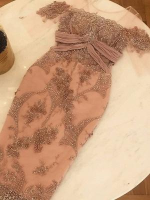 Shiny Tea Length Sheath Prom Dresses | Scoop Half Sleeves Floral Beading Formal Dresses_1