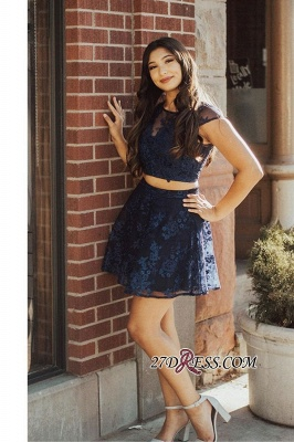 Short Lace Two-pieces Sweet Scoop A-line Homecoming Dresses_2