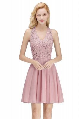 Cheap A-Line Homecoming Dresses | Sexy Lace Beading Short Chiffon Cocktail Dresses_6