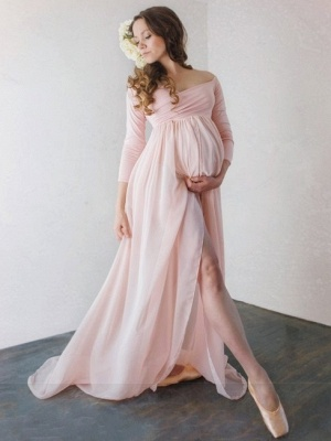Off-The-Shoulder Pink Pregnant Dresses | Sexy Side-Slit Chiffon A-Line Maternity Evening Dresses_1