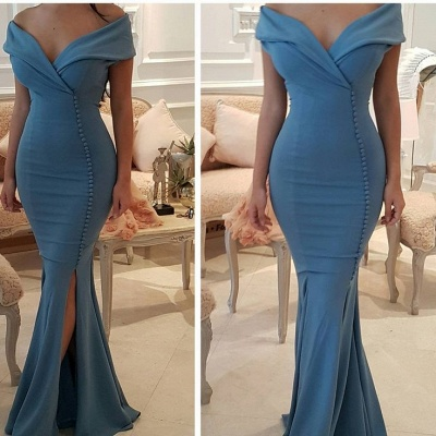 Sexy Blue Slit Evening Gowns   Off-the-Shoulder Buttons Prom Dresses_4