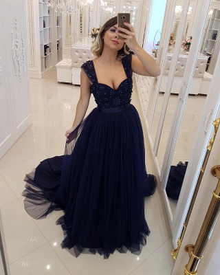 Elegant Dark Navy Puffy Prom Dresses | Scoop Sleeveless Beaded Long Evening Dresses_2