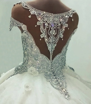 Luxury Ball Gown Wedding Dresses | Shiny Crystals Flowers Bridal Gowns BC0019_4