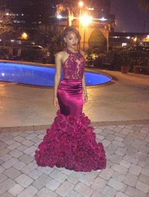 Sexy Backless Mermaid Prom Dresses 2021 Appliques Sheer Neck Evening Gowns with Flowers_3