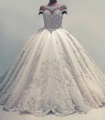 Luxury Ball Gown Wedding Dresses | Shiny Crystals Flowers Bridal Gowns BC0019_2