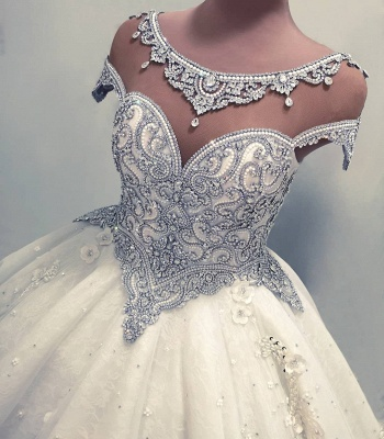 Luxury Ball Gown Wedding Dresses | Shiny Crystals Flowers Bridal Gowns BC0019_3