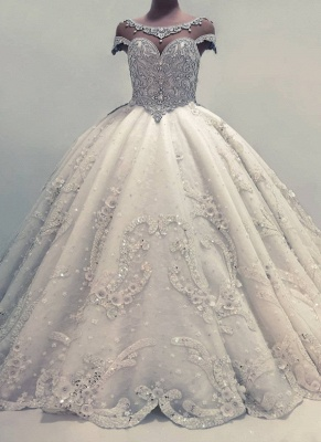 Luxury Ball Gown Wedding Dresses | Shiny Crystals Flowers Bridal Gowns BC0019_1