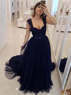 Elegant Dark Navy Puffy Prom Dresses | Scoop Sleeveless Beaded Long Evening Dresses_1