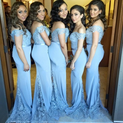 Off Shoulder Sheer Lace Mermaid Bridesmaid Dresses Sweetheart Buttons Back New Maid of Honor Dress_4