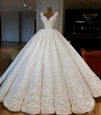 Luxury Lace Ball Gown Wedding Dresses | V-Neck Sleeveless Long Bridal Gowns_2