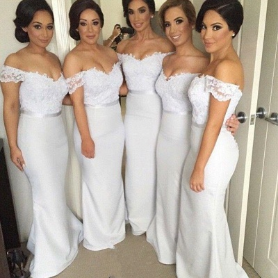 Off Shoulder Sheer Lace Mermaid Bridesmaid Dresses Sweetheart Buttons Back New Maid of Honor Dress_5
