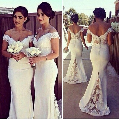 Off Shoulder Sheer Lace Mermaid Bridesmaid Dresses Sweetheart Buttons Back New Maid of Honor Dress_3