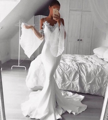 Chic White Mermaid Evening Gowns | Spaghettis Straps Flare Sleeves Party Dresses_3