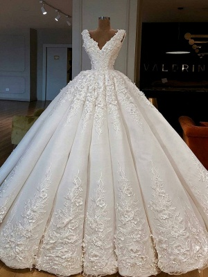 Luxury Lace Ball Gown Wedding Dresses | V-Neck Sleeveless Long Bridal Gowns_1