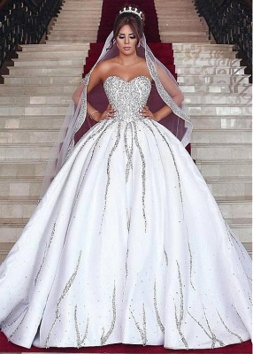 Brilliant Ball Gown Wedding Dresses Sweetheart Sleeveless Beading Bridal Gowns_2