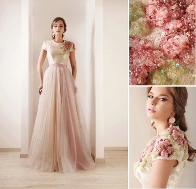 2021 New Sexy Short Sleeves Tulle Prom Dresses Print Beaded High Collar Sash Wedding Dresses DS03_2