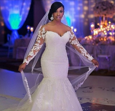 Lace Long Sleeves Mermaid Wedding Dresses Beaded Illusion Court Train Sexy Bridal Gowns_4