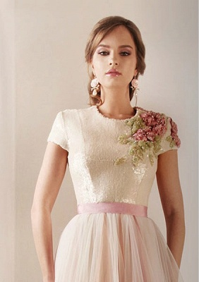 2021 New Sexy Short Sleeves Tulle Prom Dresses Print Beaded High Collar Sash Wedding Dresses DS03_3