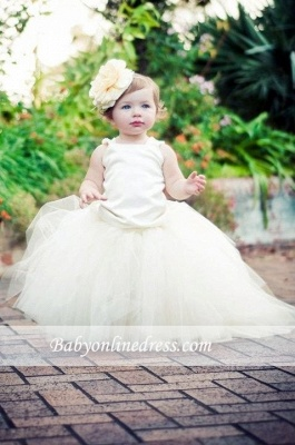 Sleeveless Scoop Ball-Gown Pearls Flower Tull Girl Dresses_2