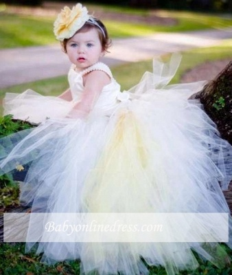 Sleeveless Scoop Ball-Gown Pearls Flower Tull Girl Dresses_3