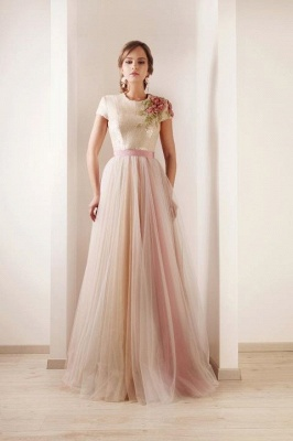 2021 New Sexy Short Sleeves Tulle Prom Dresses Print Beaded High Collar Sash Wedding Dresses DS03_1