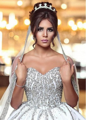 Brilliant Ball Gown Wedding Dresses Sweetheart Sleeveless Beading Bridal Gowns_4