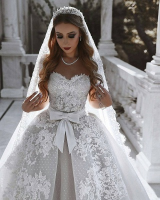 Luxury Ball Gown Lace Wedding Dresses With Bows   Sweetheart Sleeveless Over-Skirt Bridal Gowns_3