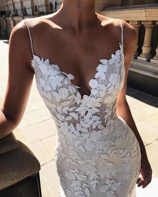 Spaghetti Straps Mermaid Wedding Dresses | Flowers Appliques Backless Bridal Gowns_3