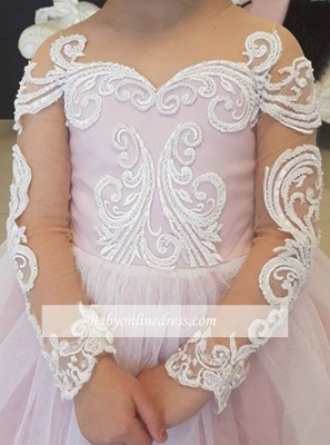Long-Sleeve Gown Flower Romantic Ball Lace Girls Dresses_3