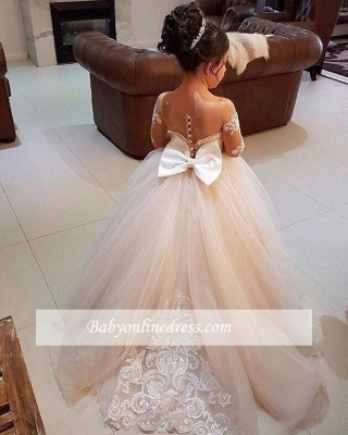 Long-Sleeve Gown Flower Romantic Ball Lace Girls Dresses_5