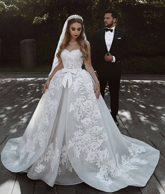 Luxury Ball Gown Lace Wedding Dresses With Bows   Sweetheart Sleeveless Over-Skirt Bridal Gowns_2