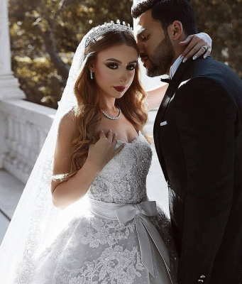 Luxury Ball Gown Lace Wedding Dresses With Bows   Sweetheart Sleeveless Over-Skirt Bridal Gowns_4
