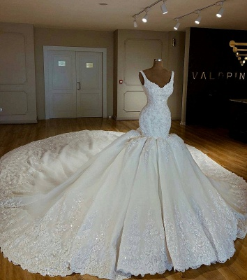 Shiny Beading Lace Mermaid Wedding Dresses | Sexy Straps Applique Bridal Gowns_2