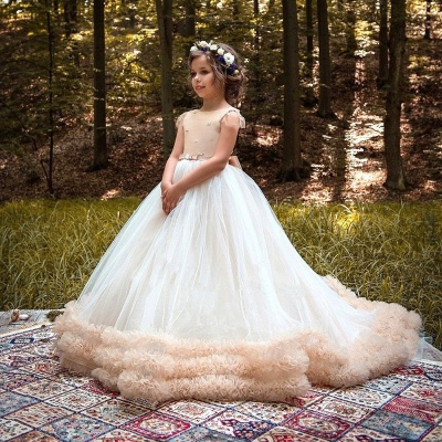 Glamorous Ball Gown Cloud Dresses With Bows | Short Sleeves Tulle Girls Pageant Dresses_3