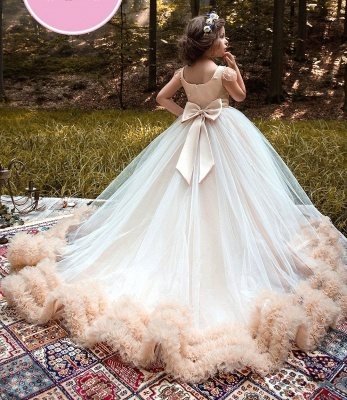 Glamorous Ball Gown Cloud Dresses With Bows | Short Sleeves Tulle Girls Pageant Dresses_4