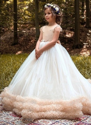Glamorous Ball Gown Cloud Dresses With Bows | Short Sleeves Tulle Girls Pageant Dresses_1