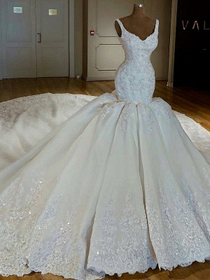 Shiny Beading Lace Mermaid Wedding Dresses | Sexy Straps Applique Bridal Gowns_3